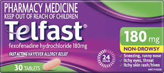 Telfast Fexofenadine HCL 180mg  Aventis